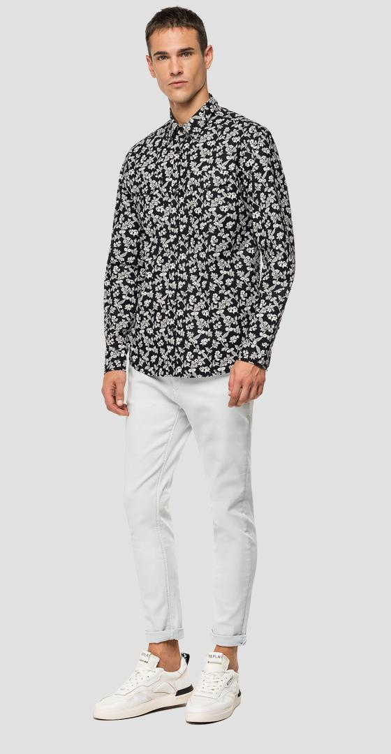 Cotton shirt with floral print m4998b.000.71978