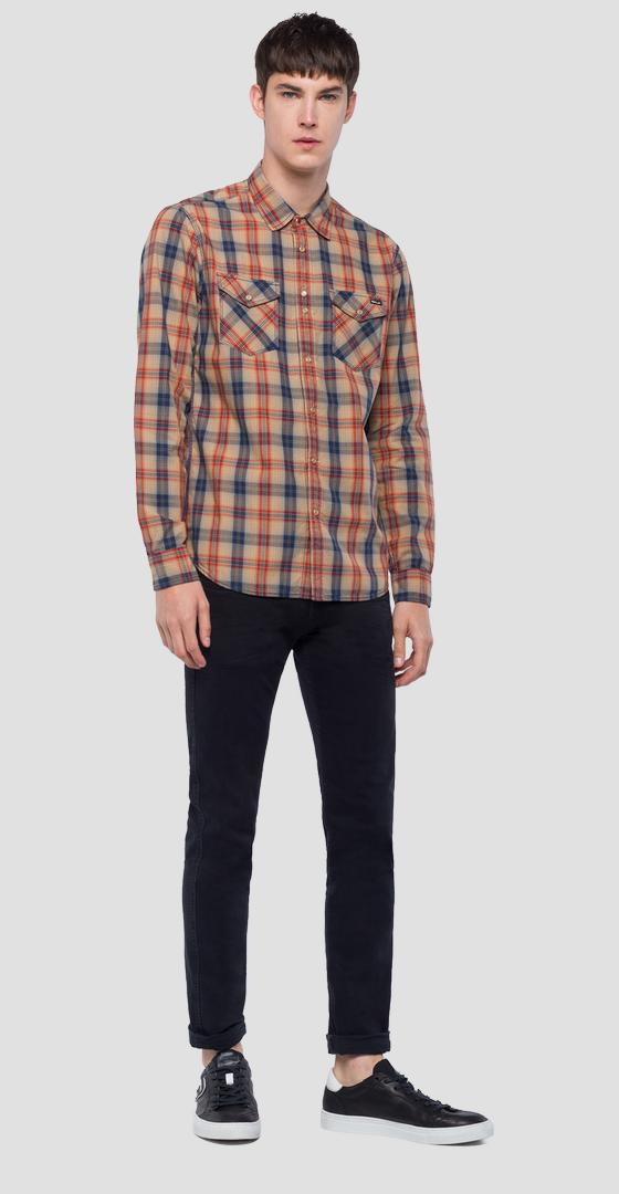 Cotton shirt with checked print m4998c.000.52104