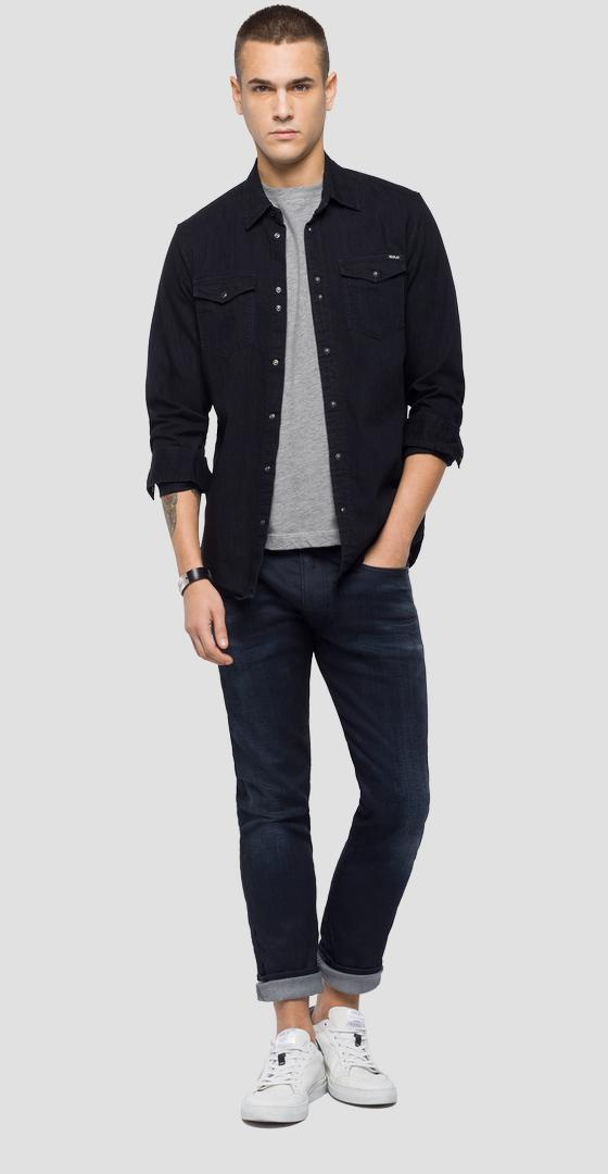 Black denim shirt m4998 .000.154 411