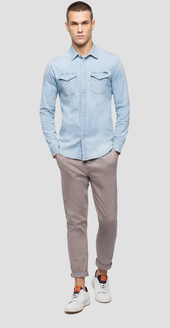 Light wash tone denim shirt m4998 .000.15a 455