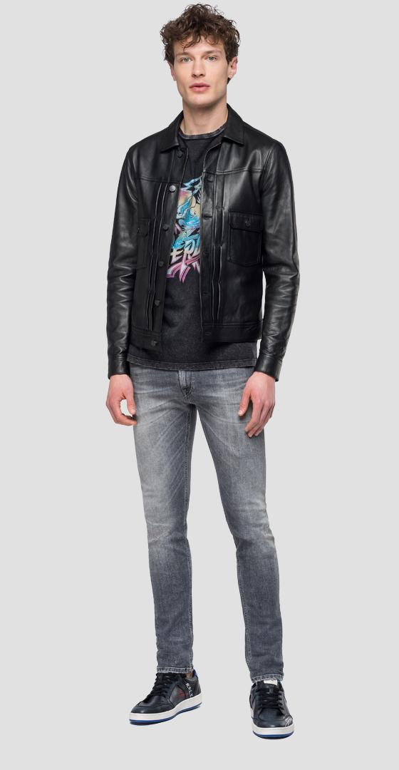 Leather jacket with buttons m8029 .000.83056