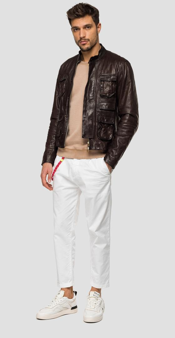 Leather jacket with pockets m8069 .000.83708