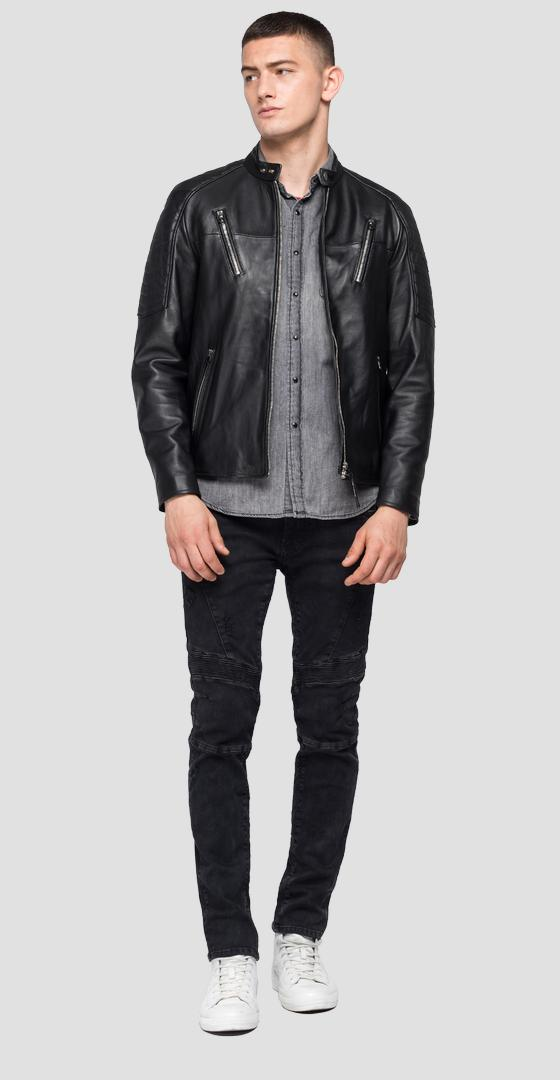 Leather biker jacket with pockets m8116 .000.83056