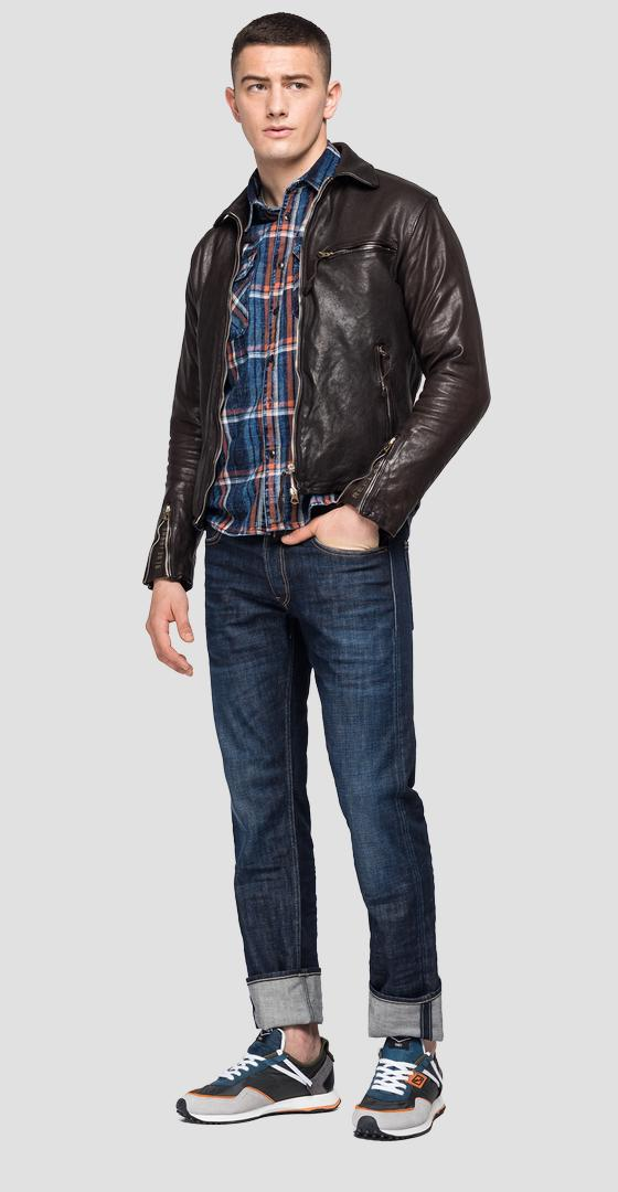 REPLAY BLUE JEANS leather biker jacket m8118 .000.83708k