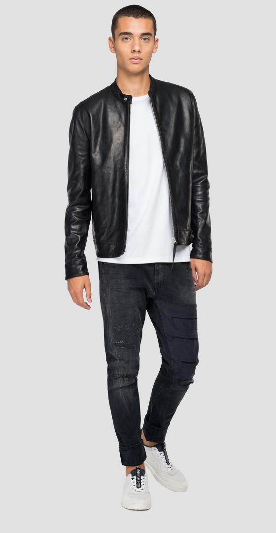 Leather biker jacket with pockets m8157 .000.84142