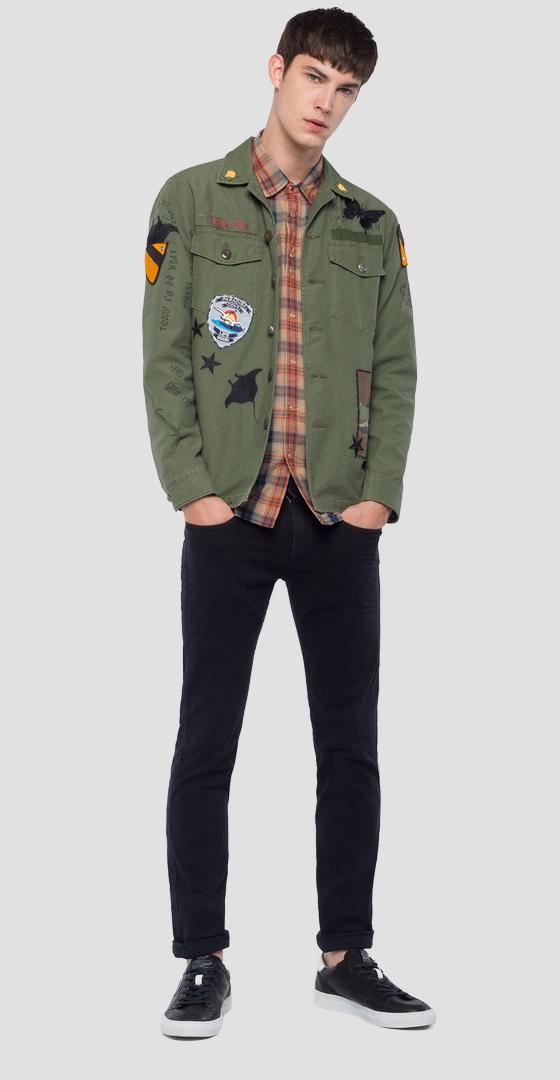 Army jacket with embroideries m8825d.000.83314