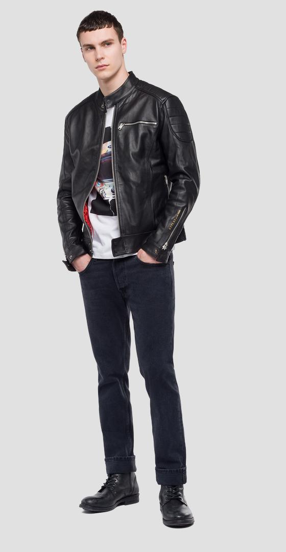 Crust leather biker jacket m8915b.000.83056