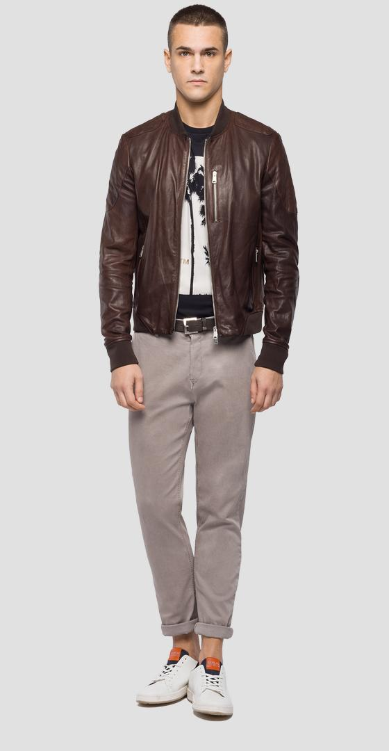 Jacket in crust leather m8987 .000.83056l