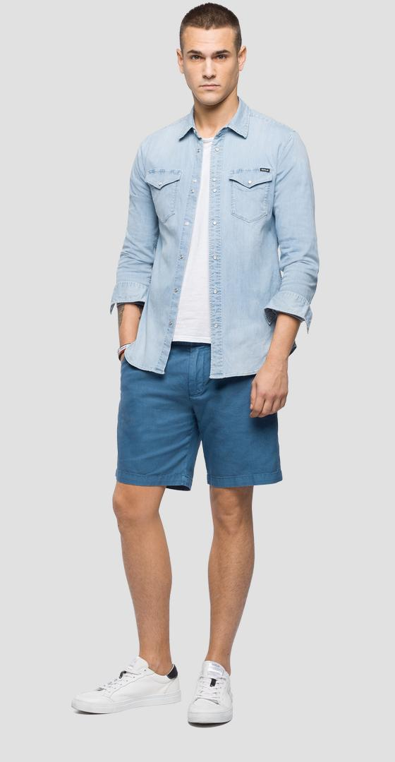 Cotton and linen chino bermuda shorts m9639 .000.83376g