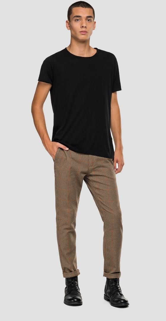 Chino trousers with checked print m9677l.000.52174