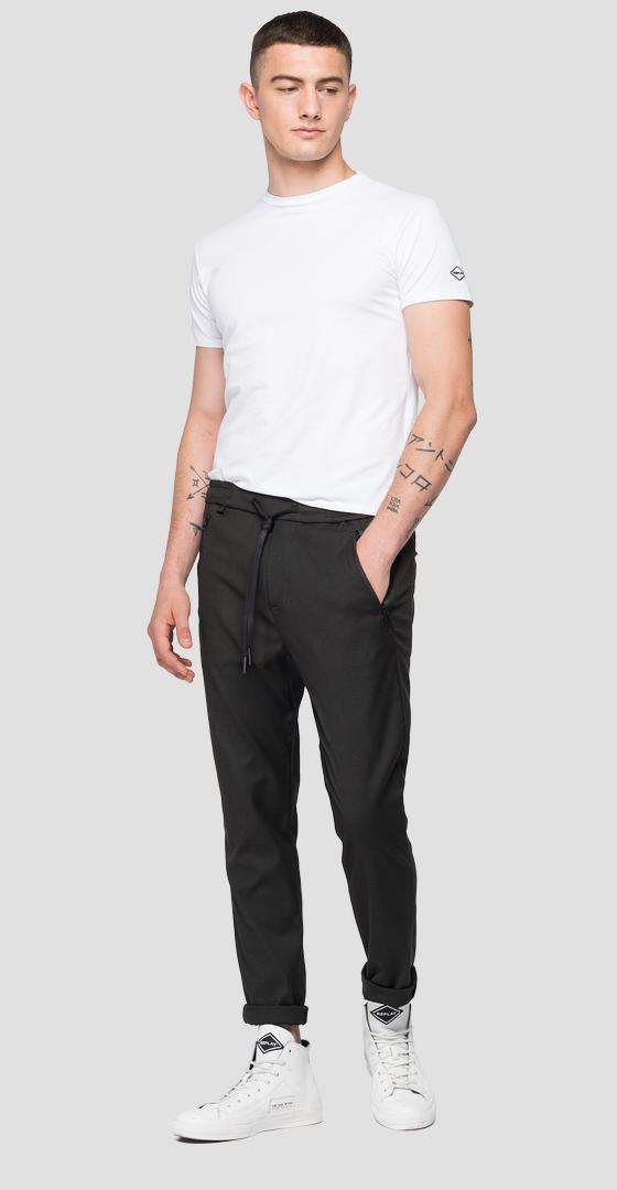 Jogger trousers in viscose twill m9685 .000.50585