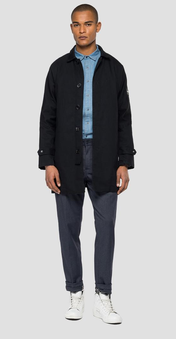 TRENCH IN DENIM REPLAY ALL BLACKS mab896.000.573bal0