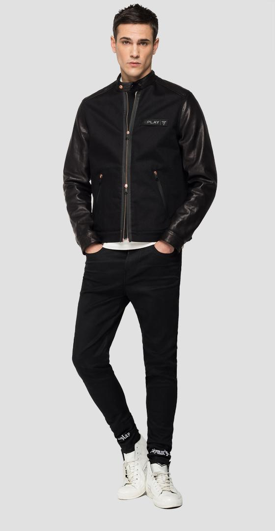 Blouson motard en denim et cuir REPLAY NEYMAR NJR Capsule Collection nj800l.000.263