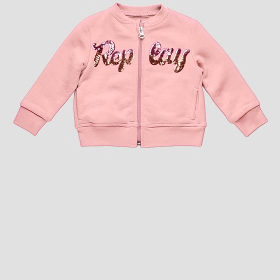 Replay sweatshirt with zipper and sequins pg2335.051.22852