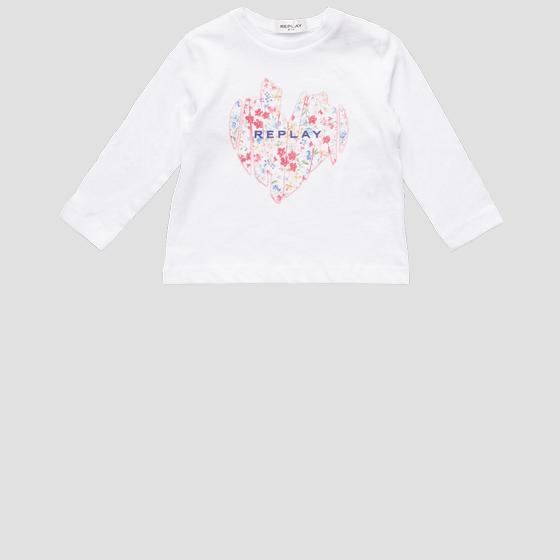 Long-sleeved REPLAY t-shirt with heart pg7091.071.20994