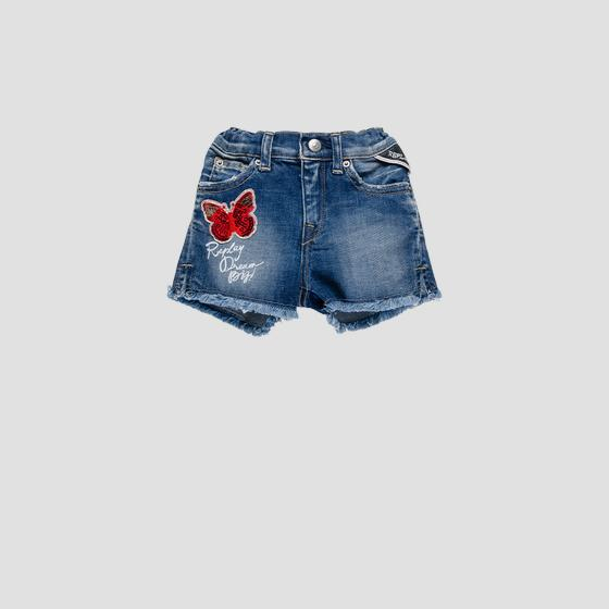 Denim short pants with butterfly pg9583.051.115 439