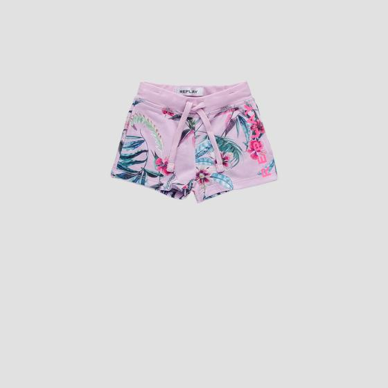 Fleece short pants with floral print pg9590.050.29868ki