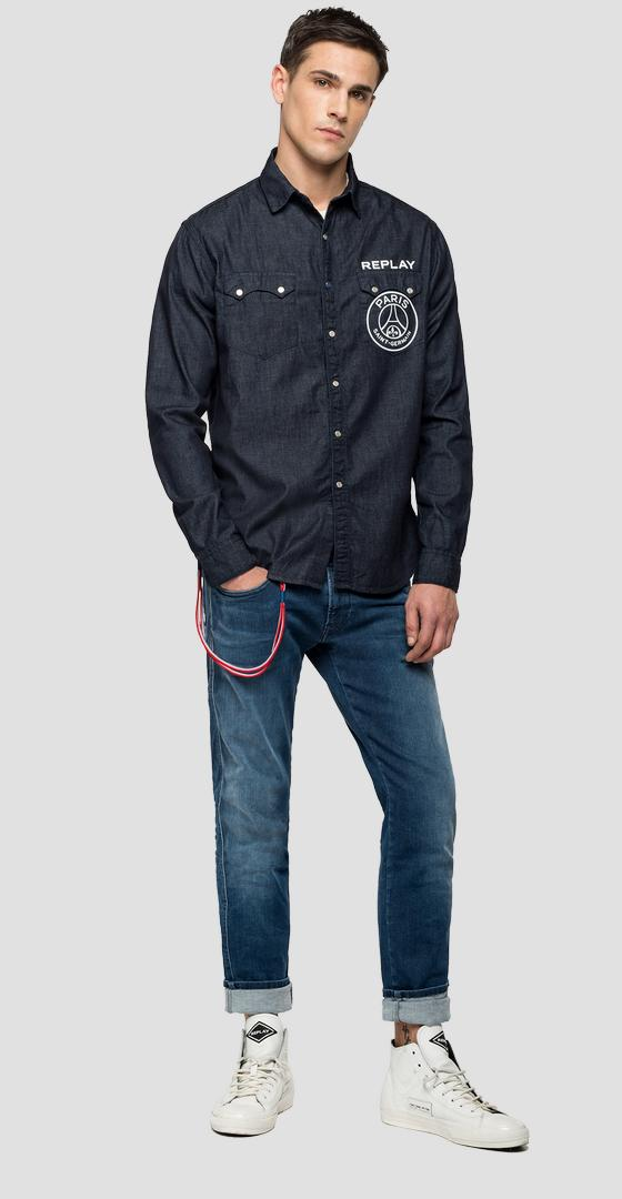 Chemise denim rinse Replay PSG psg422.000.168 g07