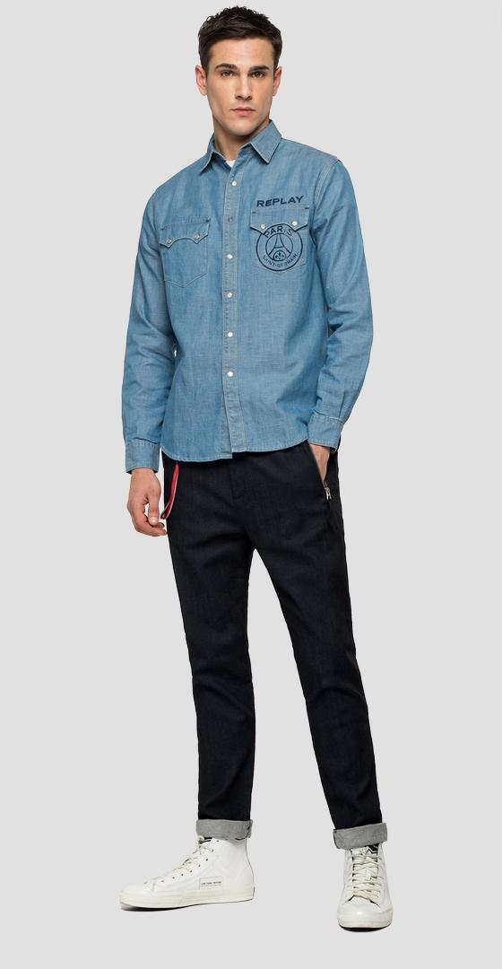 Replay PSG cotton and linen denim shirt. psg422.000.180 g75