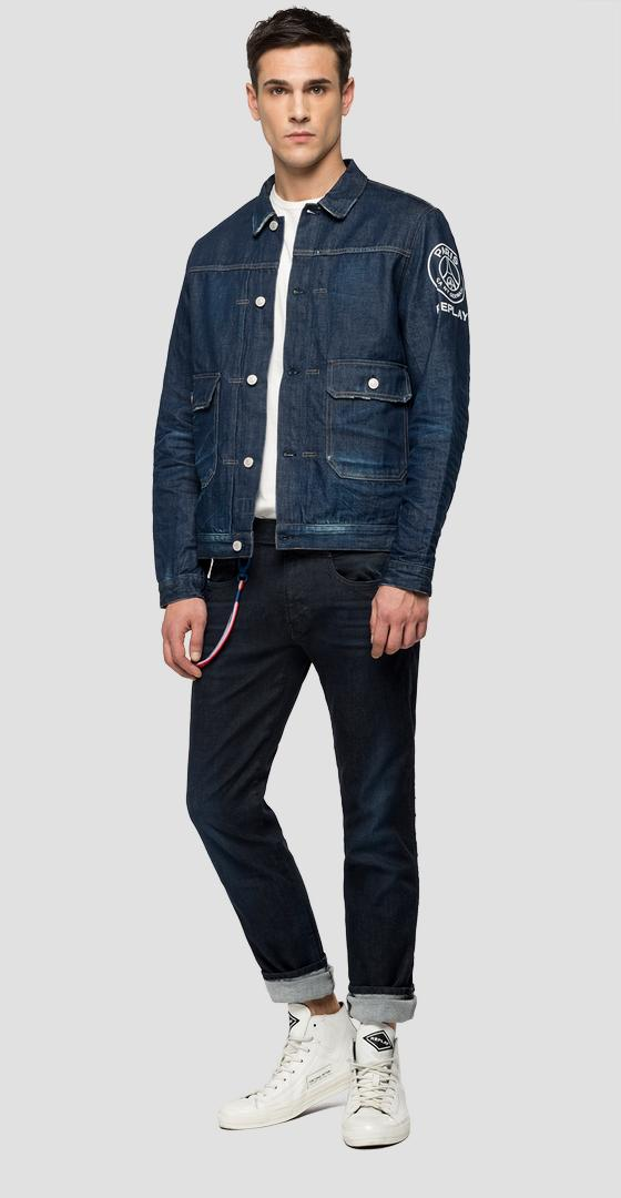 Dunkle Denim-Jacke Replay PSG psg860.000.172 g76