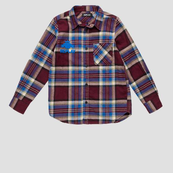 REPLAY shirt in checked canvas sb1090.050.52432
