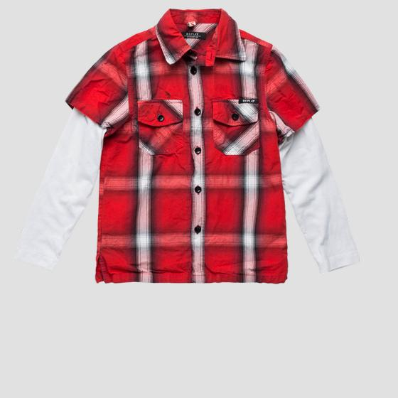 Two-fabric shirt with checked print sb1104.050.50104