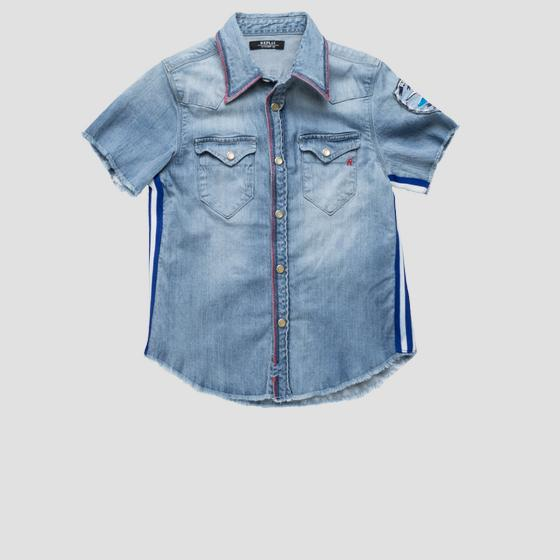 Denim shirt with striped ribbon sb1515.050.15a