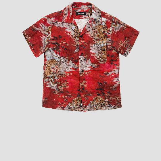 Linen shirt with all-over print sb1516.051.73340