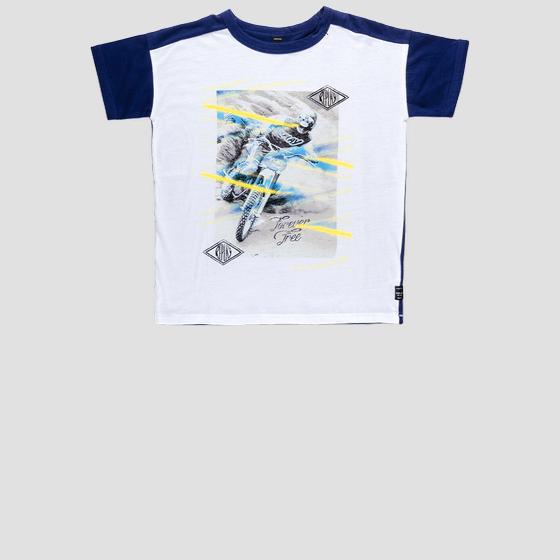 Two-tone t-shirt with bike print sb7327.050.20994