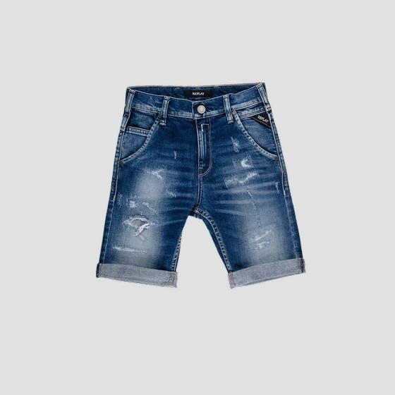 Denim short pants with breakages sb9628.052.51c 640