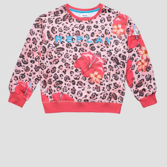 REPLAY sweatshirt with animalier and flowers print sg2095.053.29868kc