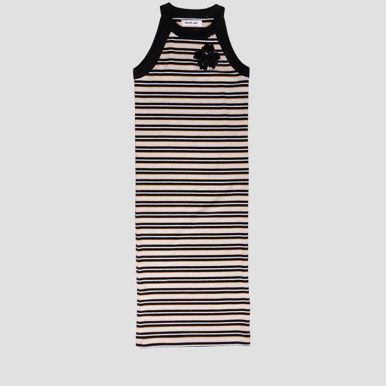 Ribbed striped dress with sequins sg3211.050.22818