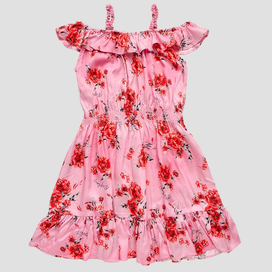 Dress in printed viscose with frills sg3218.050.84128kg