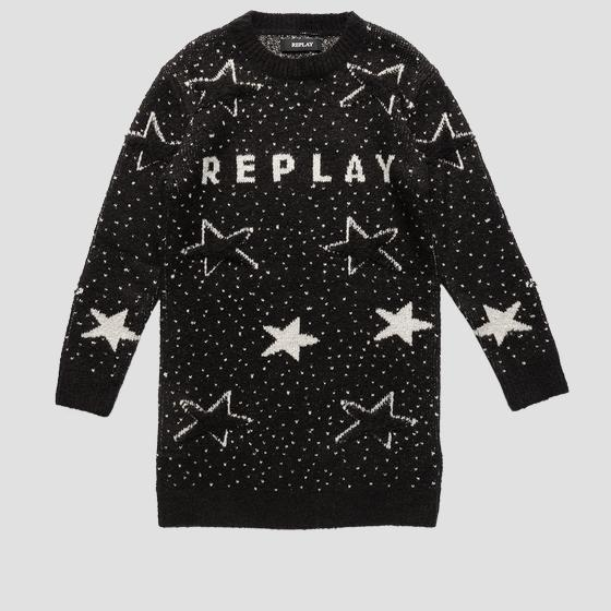 REPLAY maxi sweater with stars sg5011.050.g23018