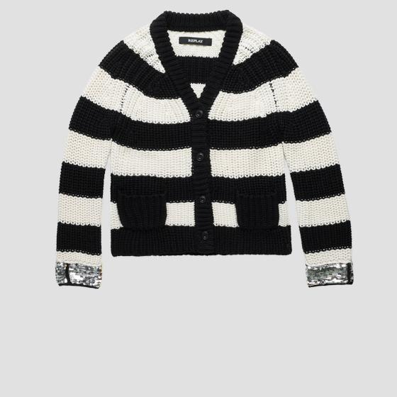 Striped cardigan with sequins sg5605.050.g22642p