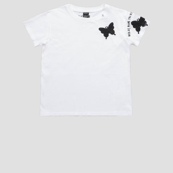 T-shirt with butterfly-shaped embroideries sg7479.050.20994