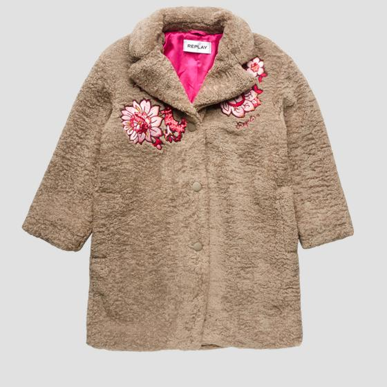 Embroidered coat in eco-sheepskin sg8214.050.83442