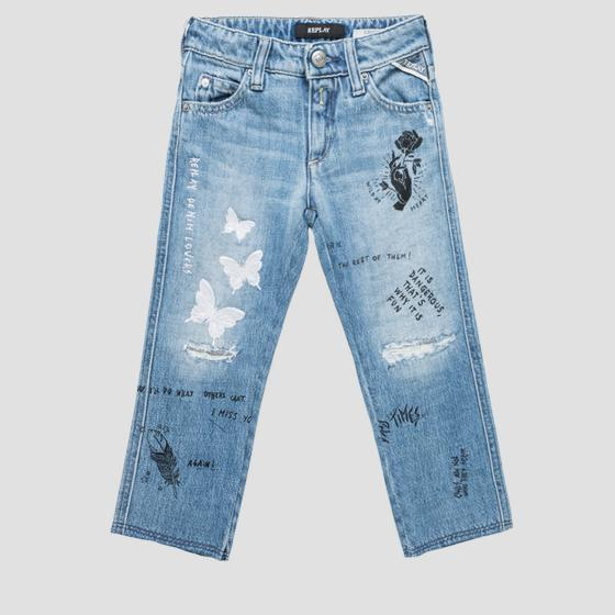 Carrot fit jeans with print and embroideries sg9317.051.100 445