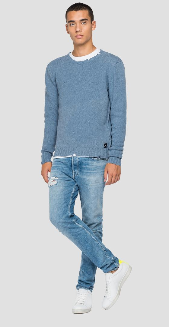 Hyperflex crewneck pullover with abrasions uk8252.000.g23022a