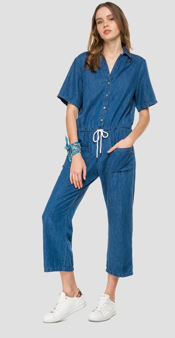Denim jumpsuit with drawstring w1033 .000.176 60a