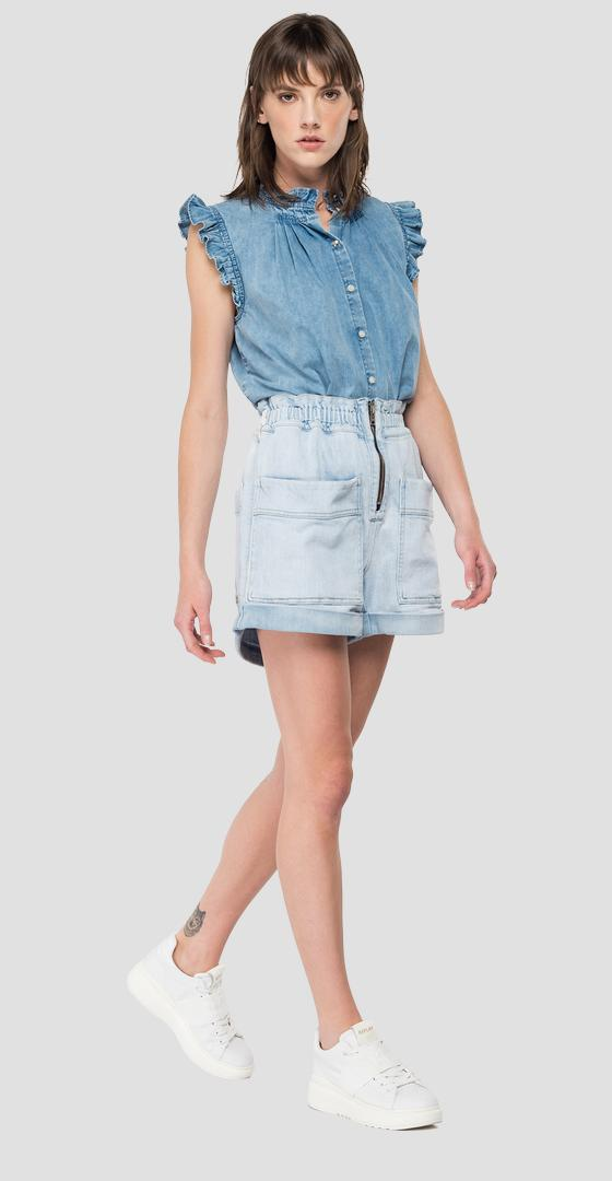 Sleeveless denim shirt with ruffles w2006 .000.160 83a