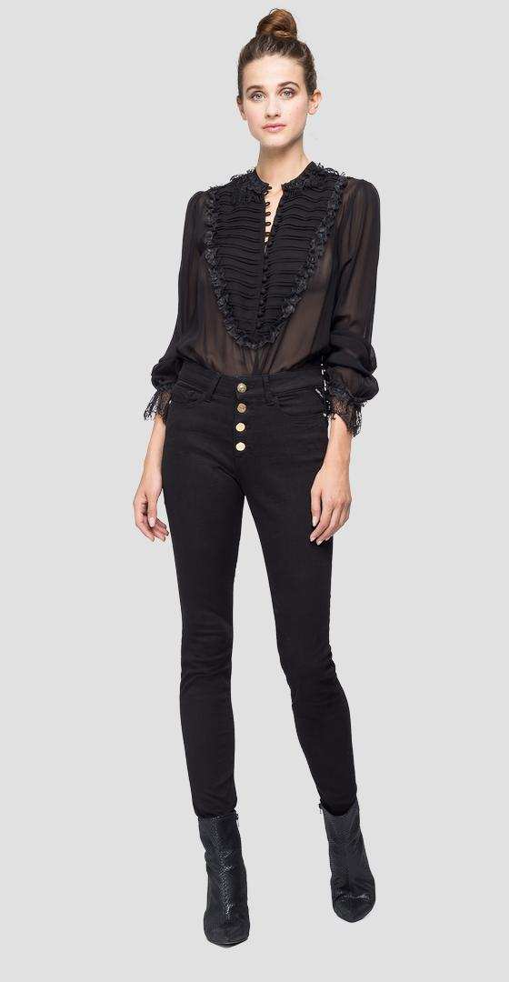 Georgette bodysuit shirt with lace w2015 .000.83890