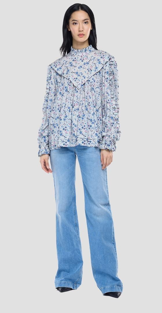 Viscose shirt with all-over print w2029a.000.73506