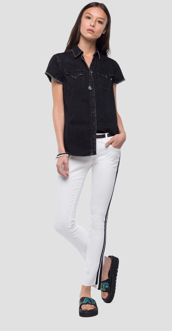 Short-sleeved denim shirt w2242a.000.154 413