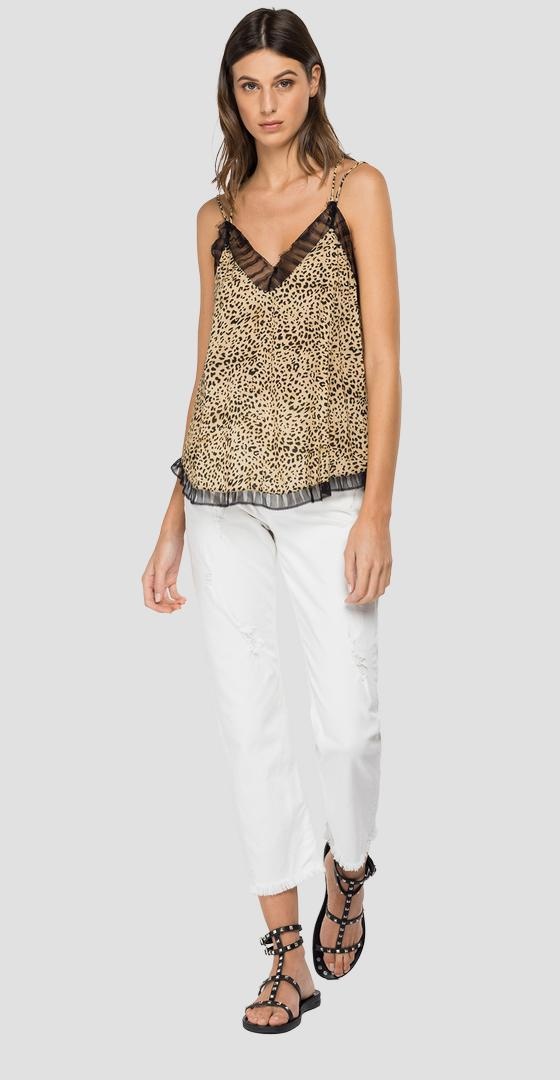 Viscose cami top with animalier print w2278b.000.73376