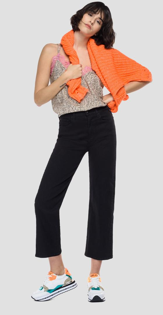 Cami top in pleated viscose with animalier print w2278c.000.73498