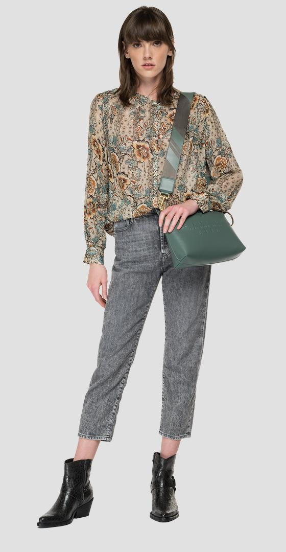 Georgette shirt with all-over print w2323b.000.73490