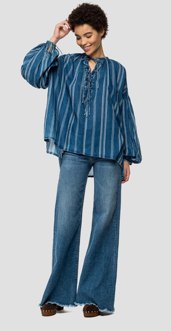 Striped blouse with laces w2326a.000.52236