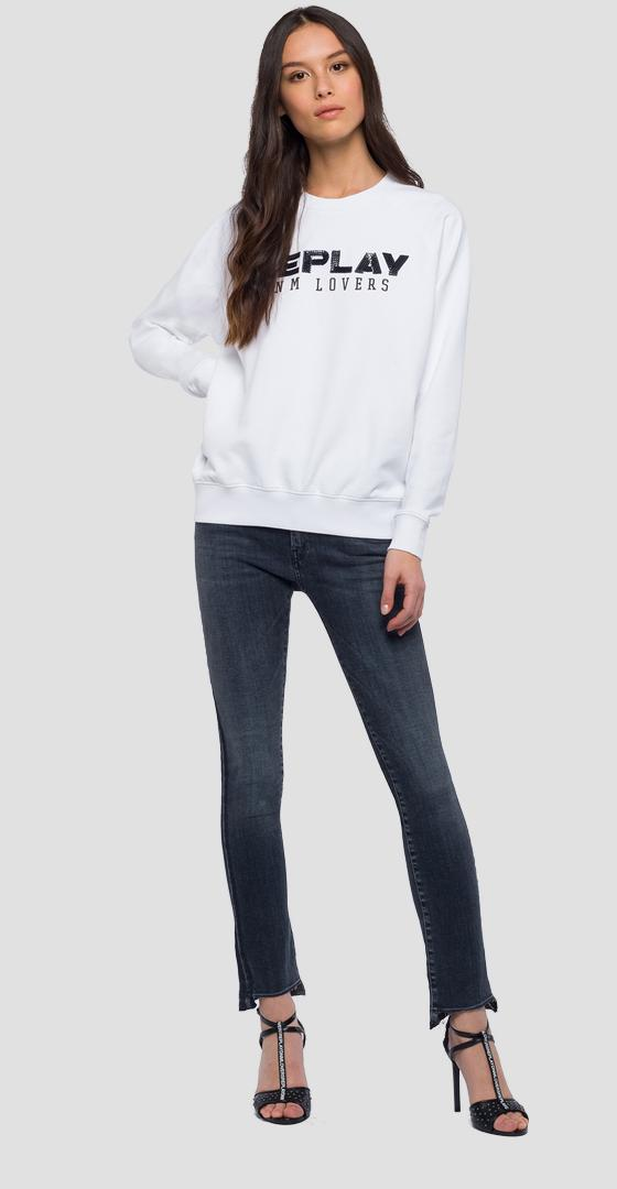 Sweat-shirt avec inscription à paillettes w3152 .000.22390p