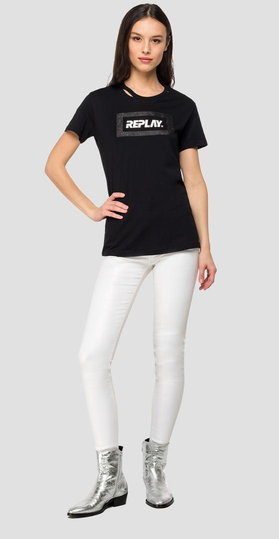 REPLAY t-shirt with glitter frame w3217d.000.22832p